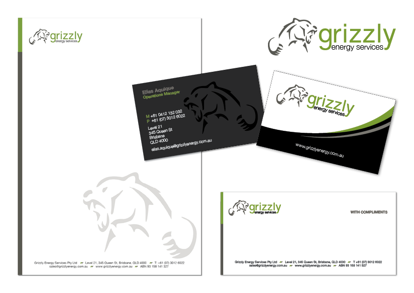 Business Card and Stationary Design for Grizzly Energy Services