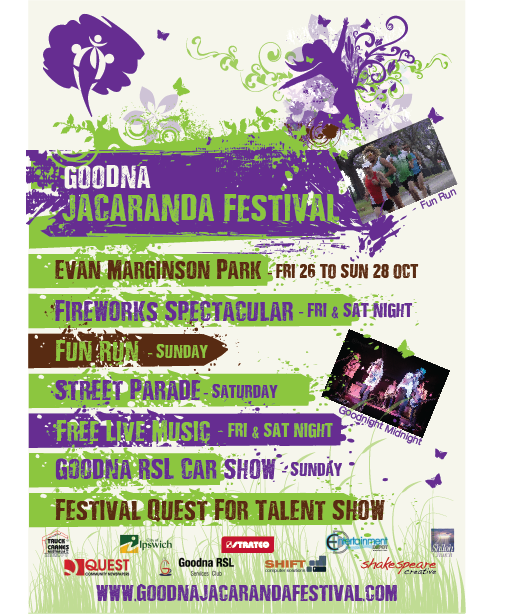 Flyer and Poster Design for the Goodna Jacaranda Festival